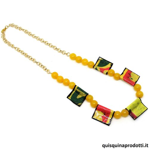 Yellow Jade and Cards Necklace