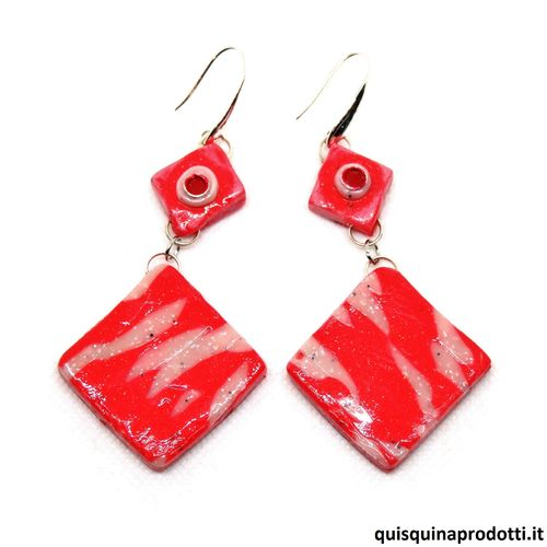 Red Cold Ceramic Earrings
